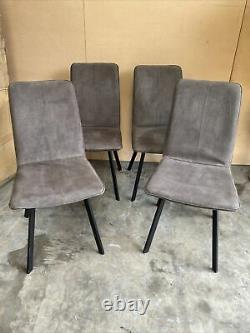4 X Modern Style Upholstered Dining Chairs In Grey Suede Effect #00217