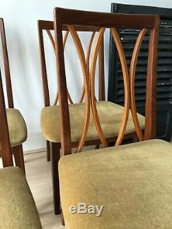 4 X Retro Vintage G PLAN Dining Chairs Teak Mid Century Dralon Upholstered Seats