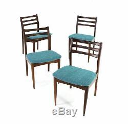 4 X Vintage Teak Danish design Dining Chairs (Re Upholstered)