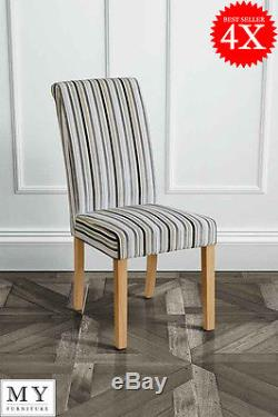 4 x GENOA HIGH QUALITY UPHOLSTERED SCROLL BACK DINING CHAIRS -JUPITER SILVER