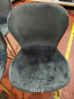 4 x Habitat ETTA Grey Velvet Upholstered Dining Chair Wooden Leg 1781843 BJ318