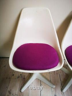 4 x Vintage 1960s Arkana white tulip swivel chairs newly upholstered