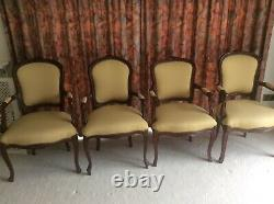4 x french carver style dining/bedroom chairs upholstered gold with arm rests