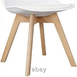 4pcs Dining Chairs Upholstered Side Tulip Chair Wooden Legs Soft Padded Kitchen