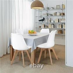 4pcs Upholstered Dining Chairs Cushioned Soft Padded Seat Beech Wood Legs White