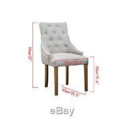 4xCurved Button Tufted Dining Chair Fabric Upholstered Accent Lounge Chair Beige