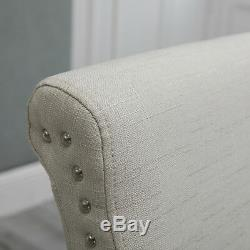 4x Beige Upholstered High Back Fabric Rivets Dining Chairs Wood Legs Diningroom