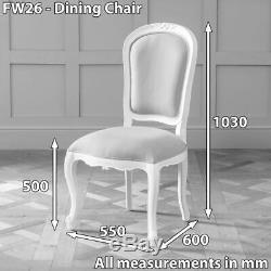 4x French Chateau White Painted Grey Upholstered Dining Chair- BRAND NEW- FW26-4