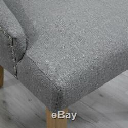 4x Gray Curved Button Tufted Dining Chair Fabric Upholstered Accent Lounge Chair