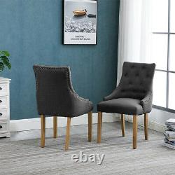 4x Grey Curved Button Tufted Dining Chairs Fabric Upholstered Accent Dining Room