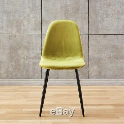 4x Velvet Dining Chairs Metal Legs Side Chair Upholstered Kitchen Dining Room BN