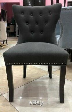 5 Dark Grey Chairs, Regent Button Back Dining Chairs, Wool Upholstered