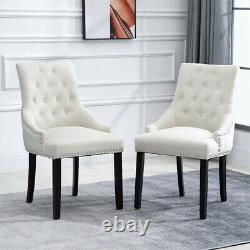 6Pcs Knocker Dining Chairs Accent Button Tufted Upholstered Studded Velvet Chair