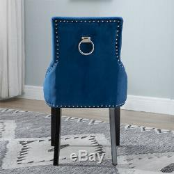6Pcs Velvet Dining Chairs Knocker Accent Button Tufted Upholstered Studded Chair
