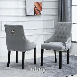 6Pcs Velvet Knocker Dining Chairs Accent Button Tufted Upholstered Studded Chair