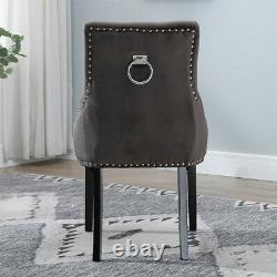 6Pcs Velvet Knocker Dining Chairs Accent Tufted Studded Dining Room Kitchen Home