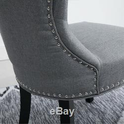 6Pcs Wing Back Dining Chairs Fabric Upholstered Accent Dining Room Kitchen Gray