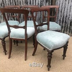 6 Antique Ballon Back Victorian Upholstered Dining Chairs