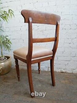 6 Antique Georgian Early Victorian Upholstered Mahogany Bar Back Dining Chairs