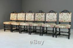 6 Antique Victorian Carved Oak Upholstered Dining Chairs