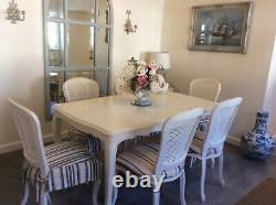 6 Beautiful laura Ashley Upholstered Dining chairs And French style Dining table