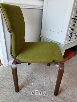 6 Bent Plywood Upholstered Mid Century Modern MCM Dining Chairs Bentwood Green