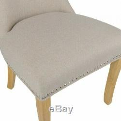6 Cream Chairs, Regent Button Back Dining Chairs, Wool Upholstered