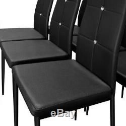 6 Dining Room Chairs High-Back Set Upholstered Kitchen Home Modern Seat Black