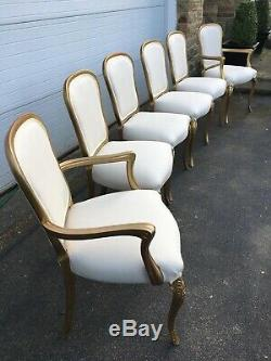6 Gold French Style Vintage Dining Chairs Newly Upholstered STUNNING