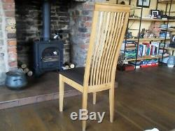 6 Habitat solid oak high back dining chairs with brown leather upholstered seat
