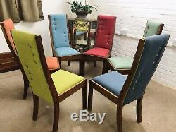 6 John LewIs Dining Chairs newly Upholstered In Multicoloured water clean Fabric