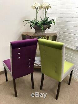 6 John Lewis Dining chairs and Table(Newly Upholstered in Multicoloured velvet)