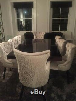 6 Luxury Dining Chairs, Hand Built, Cream Upholstered With Dark Mahogany Legs