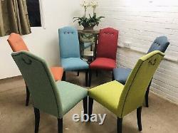 6 Multiyork Dining Chairs newly Upholstered In Multicoloured tweeted Fabric