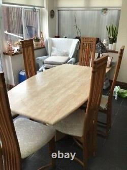 6 Place Marble Dining Table And 6 Upholstered Chairs