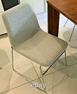 6 VIV grey Danish wool & chrome upholstered stackable dining chairs by Naughtone