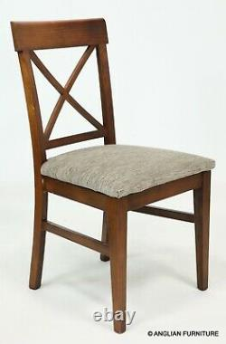 6 Vintage Cross Back Dining Chairs Newly Upholstered Seats FREE UK Delivery