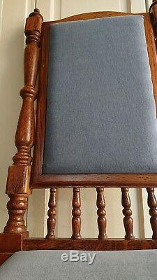 6 Vintage Wooden Upholstered Chairs Handmade from Oak Wood