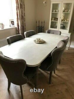6 nearly new grey upholstered dining room chairs