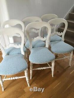6 newly upholstered blue/white dining chairs
