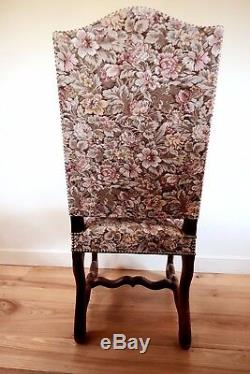 6 vintage french wooden upholstered chairs