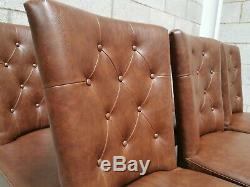 6x Bentley Designs Westbury Brown Tan Faux Leather Upholstered Dining Chairs
