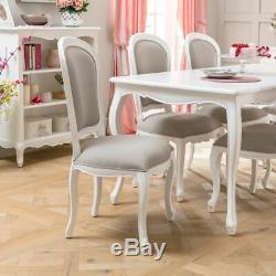 6x French Chateau White Painted Grey Upholstered Dining Chair- BRAND NEW- FW26-6