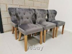 6x Furniture Village Chennai Upholstered Grey Velvet Dining Chairs RRP-£1374