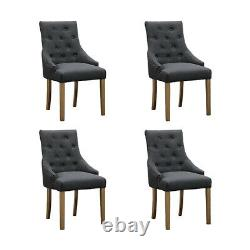 6x Grey Curved Button Tufted Dining Chairs Fabric Upholstered Accent Dining Room