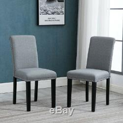 6x Grey Fabric High Back Upholstered with Rivets Dining Chairs Wood Leg Diningroom