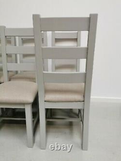 6x Grey Painted Oak & Fabric Farmhouse Ladderback Dining Chairs