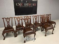 8 Exquisite Leather hide Chippendale chairs, Pro French polished / Upholstered