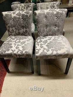 8 Modern Upholstered Button Back Dining Chairs With Metal Studding Wooden Legs