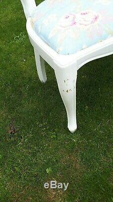 8 balloon back white, upholstered shabby chic chairs, laura ashley seats gc
